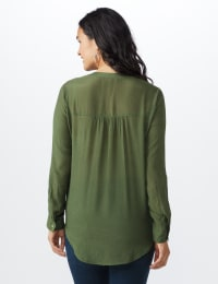 Textured Button Front Roll Tab Shirt - Misses - Army Olive - Back