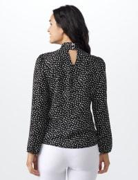 Roz & Ali Tie Neck Dot Blouse - Black - Back