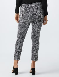 Super Stretch Pull On Ankle Pant With Rivet Trim Hem - Skin/Black/White - Back