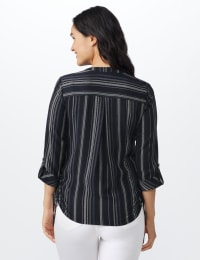 Roz & Ali Stripe Side Tie Blouse - Misses - Navy/offwhite - Back