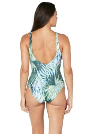 Tahari® Camo Palm Plunge Mesh One Piece Swimsuit - Green - Back