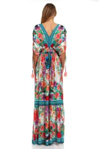 Floral Boho Peasant Dress - Multi - Back