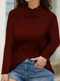 """Never Forget Your Mask"" Curve Fashion Top - Plus - Red Wine - Back"
