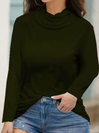 """Never Forget Your Mask"" Curve Fashion Top - Plus - Forest Green - Back"