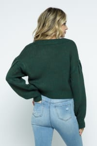 Crop Cable Knit Button Down Cardigan with Lantern Sleeves - Hunter Green - Back