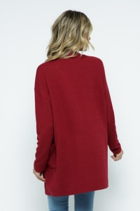 Waffle Knit Snuggle Cardigan with Pockets - Cranberry - Back