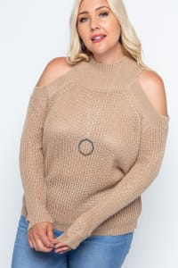 Cold Shoulder Knit Mock Neck Pullover - Plus - Coco - Back