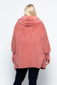 Fuzzy Oversized Hoodie with Slip Pockets and Ribbed Sleeves - Plus - Dusty Rose - Back