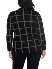 Plaid Sweater Jacket - Plus - Black/Gold - Back