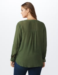 Textured Button Front Roll Tab Shirt - Plus - Claret - Back