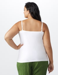 Picot Trim Cotton Spandex Cami - Plus - White - Back