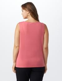 Roz & Ali Crochet Trim Crepe Hi/Lo Knit Top - Plus - Surplus Red - Back