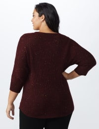 Westport Thermal Stitch Curved Hem Sweater - Plus - Florentine - Back