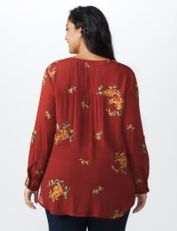 Westport Embroidered Shirt - Plus - Rust - Back