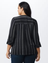 Roz & Ali Stripe Side Tie Blouse - Plus - Navy/Off white - Back