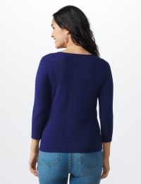 Roz & Ali Pointelle Button-Up Cardigan - Misses - Navy - Back