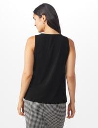 Roz & Ali Crochet Trim Crepe Hi/Lo Knit Top - Black - Back