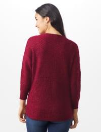 Westport Basketweave Stitch Curved Hem Sweater - Misses - Red - Back