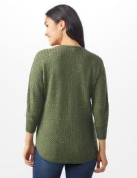 Westport Zig Zag Stitch Curved Hem Sweater - Misses - Dried Sage - Back