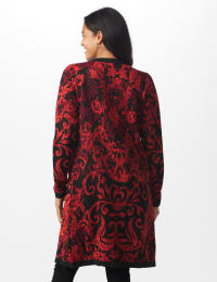 Roz & Ali Jacquard Duster Sweater - Misses - Multi - Back
