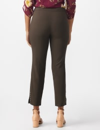 Roz & Ali Solid Superstretch Tummy Panel Pull On Ankle Pants With Rivet Trim Bottom - Misses - Cocoa - Back
