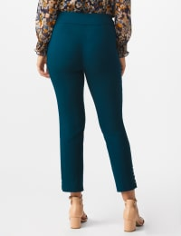Roz & Ali Solid Superstretch Tummy Panel Pull On Ankle Pants With Rivet Trim Bottom - Misses - Teal - Back