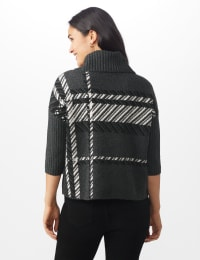 Roz & Ali Plaid Jacquard Pullover Sweater - Heather Charcoal - Back