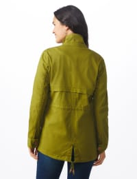 Zip Up Anorak with Cargo Pockets - Avocado - Back