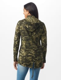 Hooded Hi - Low Zip Front Utility Jacket - Olive camo - Back