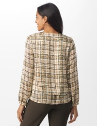 Plaid V-Neck Crepe Double Layer Blouse - Misses - White Swan Plaid - Back