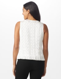 Roz & Ali  Dot Bubble Hem Blouse - Petite - Champagne/Black - Back