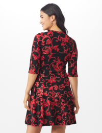 Scroll Tiered Dress - Misses - black/red - Back