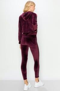 Crop Velour Pullover Legging Set - Wine - Back