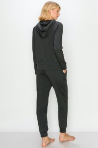 Fleece-Lined Hoodie and Jogger Set - Charcoal - Back