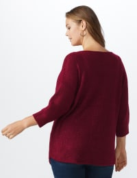 Westport Basketweave Stitch Curved Hem Sweater - Plus - Red - Back