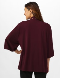 Roz & Ali Novelty Sleeve Grommet Cardigan - Burgundy - Back