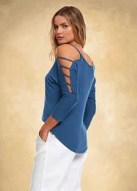 3/4 Sleeve Strappy Shoulder Knit Top - Denim Blue - Back