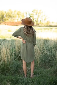 Clip Dot Shirt Dress - Misses - Kale - Back