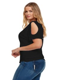 Cold Shoulder Basic V Neck Tee - Plus - Black - Back