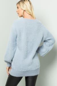 Pre-Order Plush-Soft Fuzzy Sweater - Blue-Grey - Back