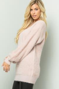 Pre-Order Plush-Soft Fuzzy Sweater - Mauve - Back