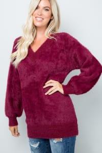 Pre-Order Plush-Soft Fuzzy Sweater - Wine - Back