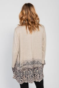 Border Print Open Knit Cardigan - Misses - Brown - Back