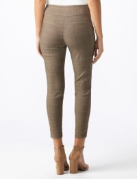 Pull On Plaid Ankle Pant with Faux Besom Pockets - Paprika - Back