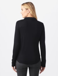 Rayon Span Pique Shirt - Misses - Black - Back
