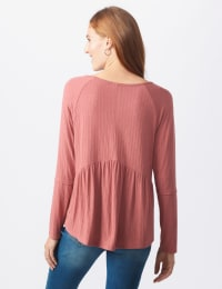 Pointelle Rib V-Neck Knit Top - Misses - Mauve - Back
