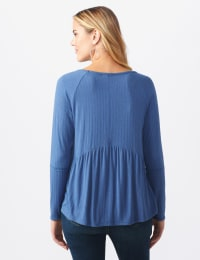 Pointelle Rib V-Neck Knit Top - Misses - Denim - Back