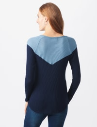 Denim Friendly Color Block Thermal Knit Top - Misses - Navy - Back