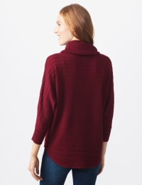 Westport Drape Neck Curved Hem Sweater - Misses - Bordeaux - Back