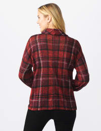 Red Plaid Hacci Sweater Knit Cowl Neck Top - Misses - Red - Back